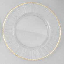 "Case of 4 Ray/Gold Rim 13"" Round Charger Plates @ $20.00/pc"