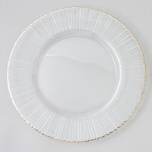 "Case of 4 Ray/Silver Rim 13"" Round Charger Plates @ $20.00/pc"