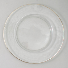 "Case of 4 Silver Rim 13"" Round Charger Plates @ $20.00/pc"