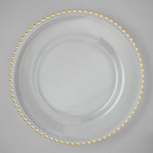 "Case of 4 Gold Bead Glass 13"" Round Charger Plates @ $30.00/pc"