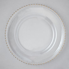 "Case of 4 Silver Bead Glass 13"" Round Charger Plates @ $30.00/pc"