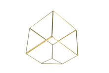 Big Gold Tilted Cube Geometric Glass Terrarium, Heptahedron - 4 Pieces