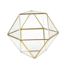 Gold Cuboctahedron Multi-Facet Ball Geometric Glass Terrarium - 8 Pieces