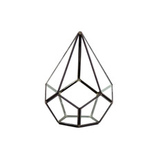 Black Undecahedron Tear Drop Geometric Glass Terrarium - 6 Pieces