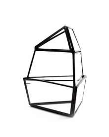 Black Short Triangular Obelisk Geometric Glass Terrarium - 9 Pieces