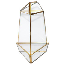 Gold Medium Triangular Obelisk Geometric Glass Terrarium - 9 Pieces