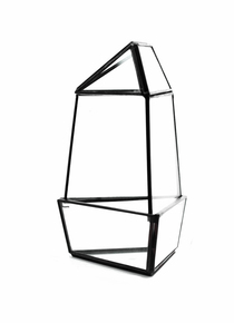 Black Medium Triangular Obelisk Geometric Glass Terrarium - 9 Pieces
