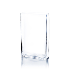"8"" x 3"" x 18"" Clear Rectangle Block Vase - 6 Pieces"