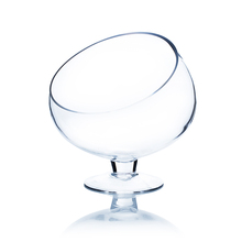 """7"""" x 7"""" Clear Slant Cut Bowl Vase on Stand / Terrarium - 8 Pieces"""