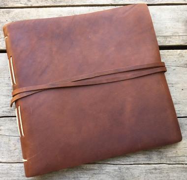 "Leather Album Journal - Saddle - 10"" x 10"" - Engravable"