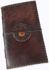 Leather Journal - Medium with Orange Marbled Stone