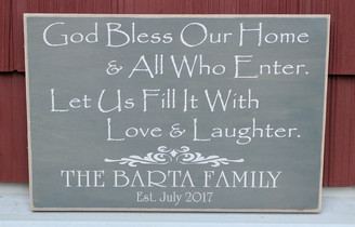 God Bless Our Home Personalized Sign
