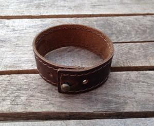 Stitched leather wrist band