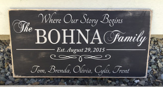 Where Our Story Begins Family Sign - Shabby Chic