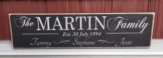 distressed family established wood sign