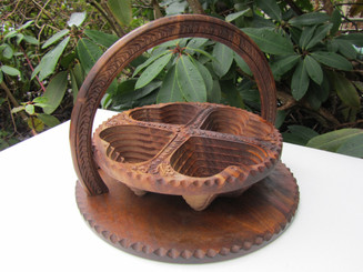 Collapsible Wooden Basket 12 inch Three Compartment.