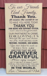 "Rustic Wood Sign - Friends And Family Thank You Wedding - 12"" x 24"""