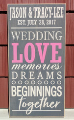 personalized wedding love memories dreams beginnings together sign