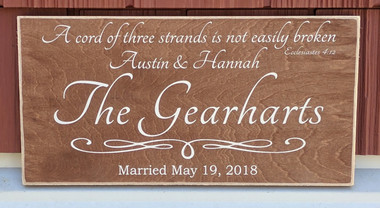 A cord of three strands is not easily broken - family sign