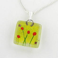 Glass Pendant Charm - Admist Poppies