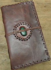 handcrafted leather journal with semi precious stone and stitching