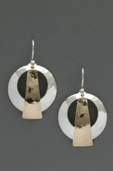 Hammered Disc with Gold Filled Triangle Sterling Silver Earrings