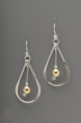 Thomas Kuhner Mixed Metals-Sterling Heavy Teardrop Earring with Gold Filled Bead
