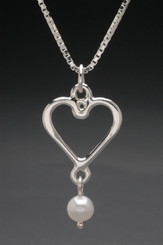 Heart with Pearl Drop Sterling Silver Pendant with 18 inch Silver Box Chain