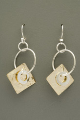 Sterling Silver Circles with Gold Filled Textured Square Mixed Metals Earrings