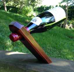 Self-Balancing Wine Bottle Holder - Mahogany