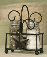 Primitive Country Star Salt and Pepper Holder