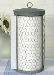 Primitive Country Chicken Wire Paper Tower Holder