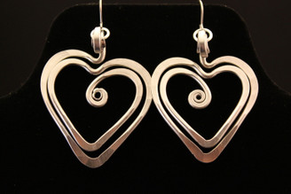 Funky Spiral Heart Earrings - Large