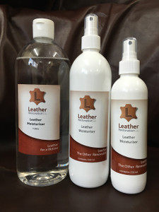Leather Restoration Co's moisturiser instantly softens leather that is dry and stiff. It has a very low evaporation rate and the area moisturised can be refinished with no adhesion issues. Applying  moisturiser on the flesh side of the hide gets immediate results and the use of warmth, scrubbers and scrunching the leather aids in driving this moisturiser into the more compact fibre bundles on the top grain side of the hide. It will be effective where it can get through microfractures in older leather finishes and topcoats.