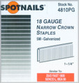 "1-1/4"" Galv. 18 Gauge 1/4"" Crown Staples - 5,000 per Box - Spotnails 4810PG"