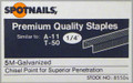 "1/4"" T50 / A11 Galv. Staples Similar to Arrow - 5,000 per Box - Spotnails 85504"