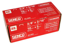 "Senco C03BGAN 3/16"" 22 Ga. 3/8"" Crown Stainless Steel Staples"