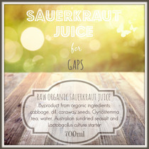 ORGANIC Sauerkraut Juice for GAPS:  700ml  SORRY OUT OF STOCK