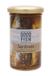 SARDINES in Organic Extra Virgin Olive Oil 277g Glass Jar