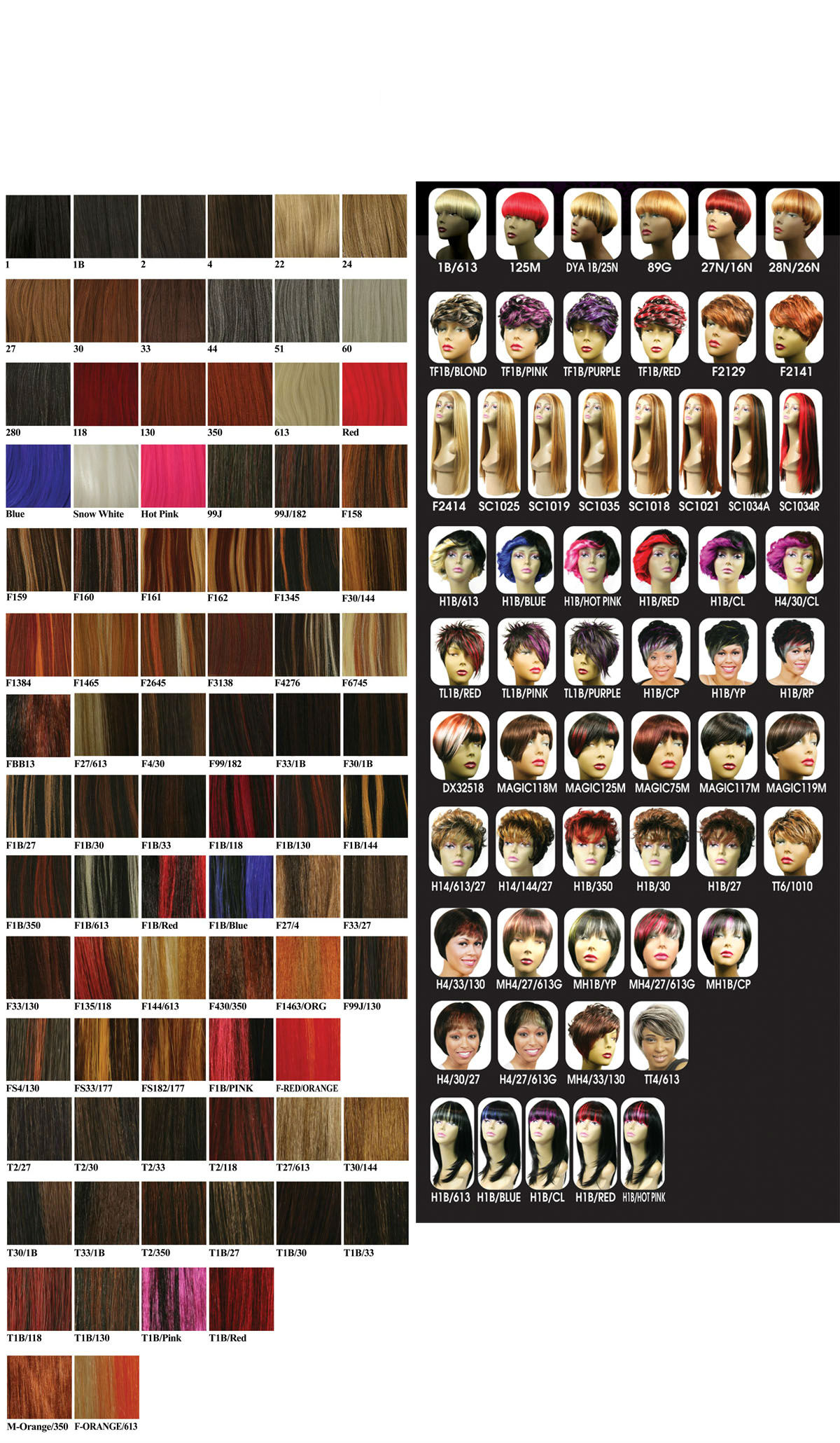 Hair Color Chart - Hair Extensions Color Choise, Wig Colors - Weave