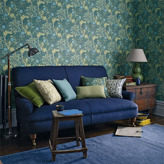 Blue William Morris Wall
