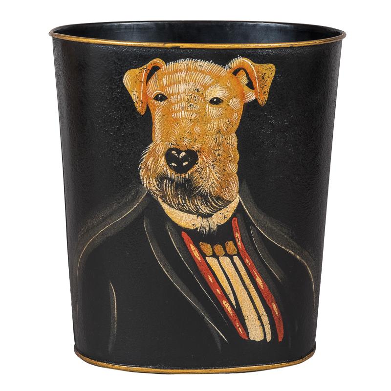 Professor Airedale Dog Portrait Waste Paper Bin