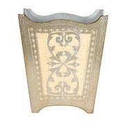 Silver Royal Florentine Waste Paper Bin- Ivory