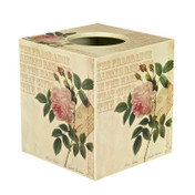 Rose Script Tissue Box Cover