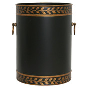 Grecian Leaves Waste Paper Bin - Black