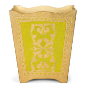 Gold Royal Florentine Waste Paper Bin - Light Green