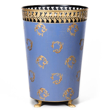 Baroque Swirl Waste Paper Bin - Horizon Blue
