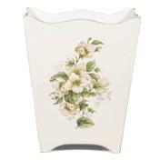 White Rose Decoupage Florentine Waste Paper Bin