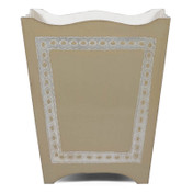 Silver Royal Florentine Waste Paper Bin - Sand Shell