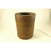 Rattan Waste Paper Bin with Lid and Liner - Dark
